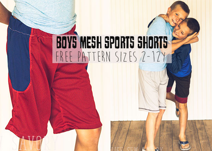 DIY Shorts Boys mesh shorts sewing pattern