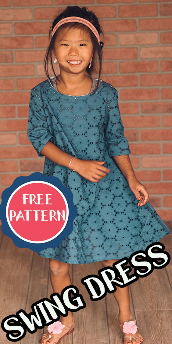 Check out this free dress sewing pattern for girls. The free pattern can be made with or without sleeves and in a dress or tunic length.