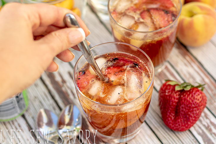 summer tea with fruit refreshing drink