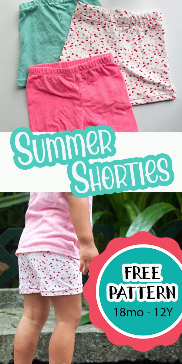 learn how to make short leggings to wear under dresses or just as shorts. Easy free sewing pattern for summer short leggings.