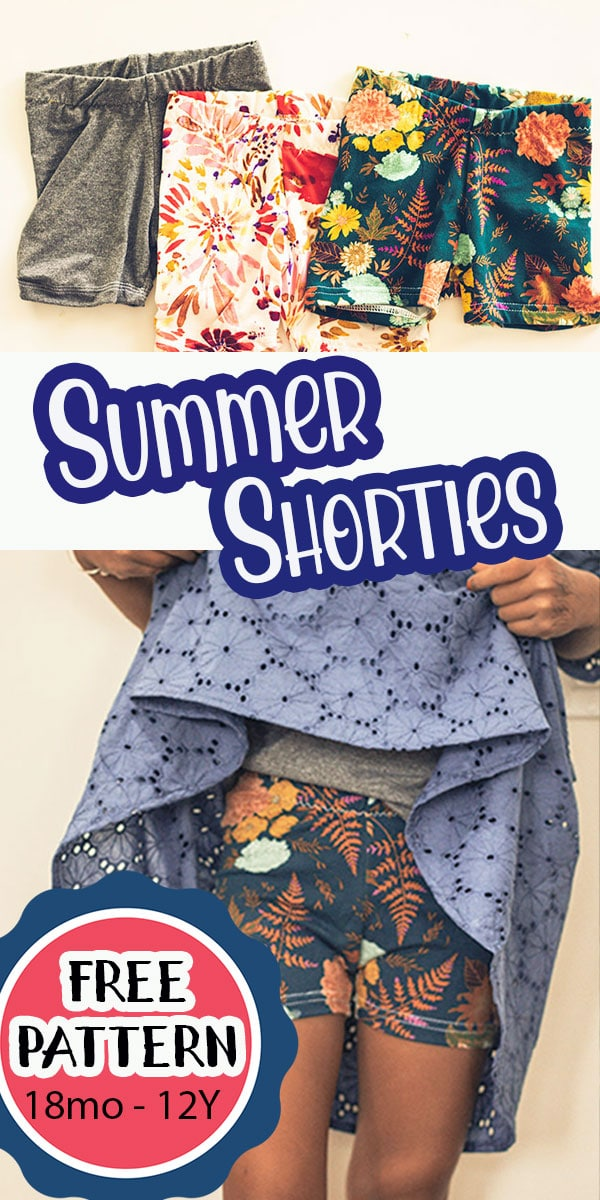 learn how to make short leggings to wear under dresses or just as shorts. Easy free sewing pattern for summer short leggings.  via @lifesewsavory
