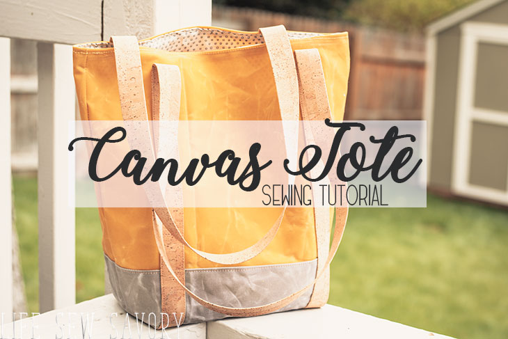 Canvas Tote Bag Pattern and sewing tutorial from Life Sew Savory