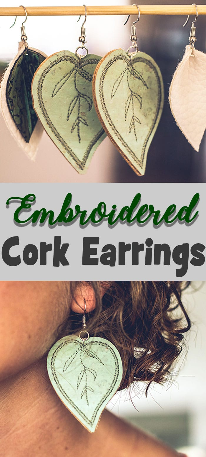 embroidered cork earrings. make your own earrings easy DIY from Life Sew Savory