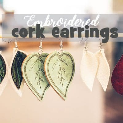 Embroidered Cork Earrings