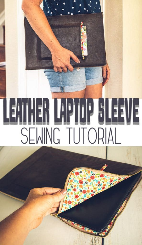 DIY Laptop Sleeve Sewing Tutorial padded leather laptop case from Life Sew Savory