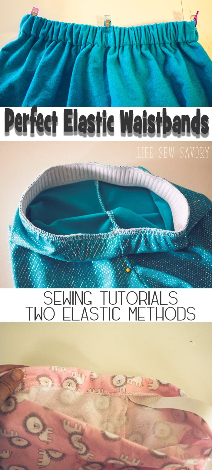 learn How to Sew Elastic Waistband with or without a casing for your elastic waistband needs. Photo and video tutorial