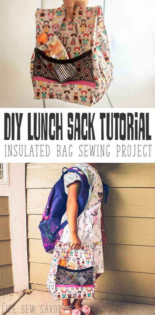 lunch bag pattern and sewing tutorial for insulated sack from Life Sew Savory