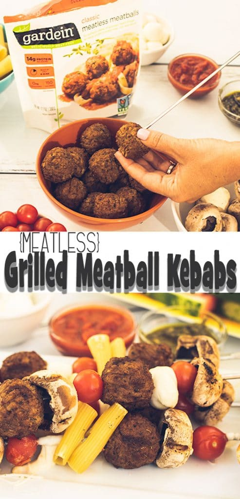 grilled meatless meatball kebabs for an easy summer meal on the grill. Load up with amazing flavors and grilled kebabs are quick to make from Life Sew Savory