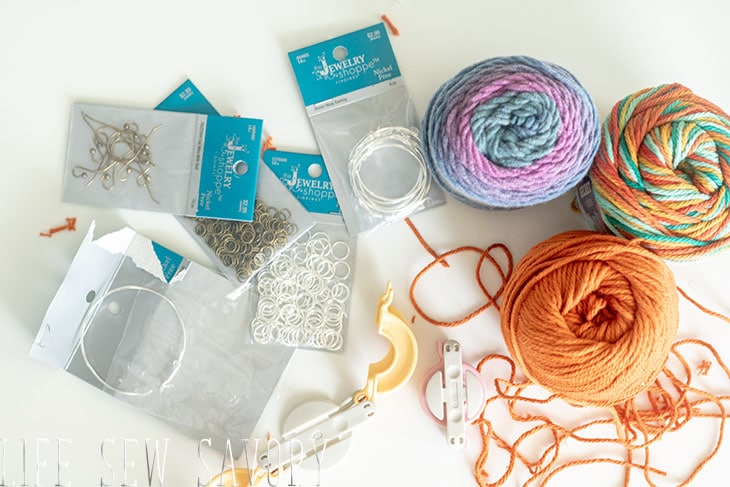 yarn and supplies for pom pom earrings