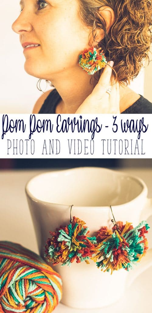 Make your own Pom Pom Earrings tutorial. Make yarn earrings three ways with video from Life Sew Savory