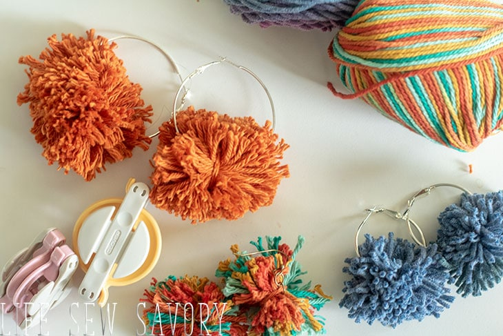 yarn pom pom earrings