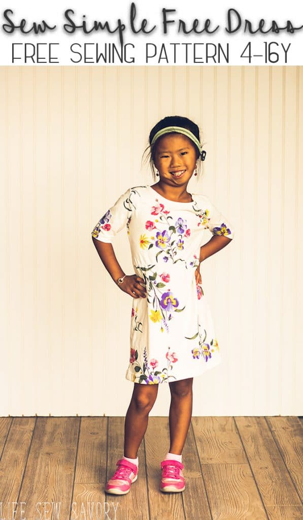 girls dress pattern free pdf download sewing pattern sizes 4-16Y from Life Sew Savory