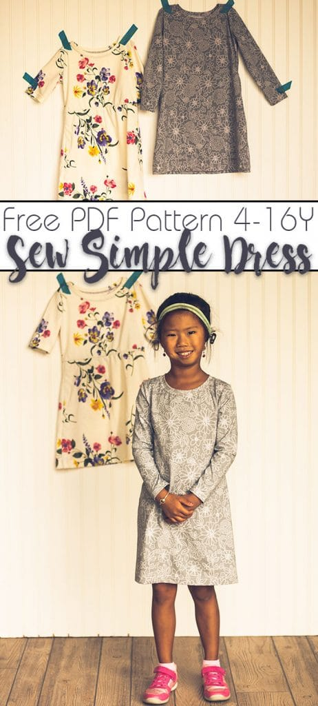 girls dress pattern free pdf pattern size 4-16Y from Life Sew Savory