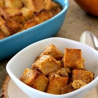 Gluten Free Pumpkin Bread Pudding with Caramel Sauce