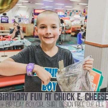 Birthday fun at Chuck E Cheese and free shirt cut file