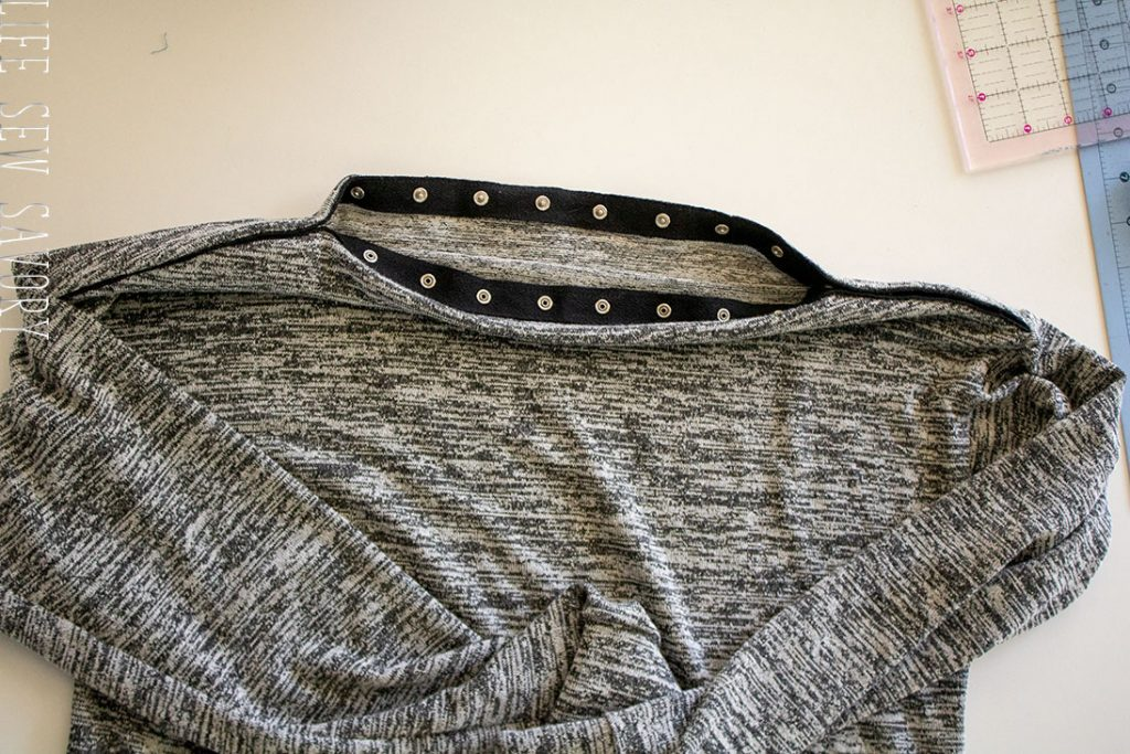 how to sew a sweater with a snap neck