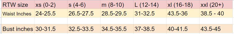 womens tee size chart