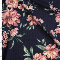 Pink, Green, and Yellow Floral on Navy Soft Waffle Sweater Knit
