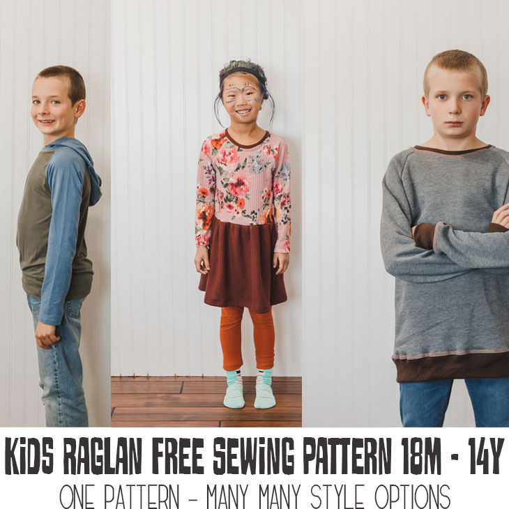 three style raglans all made from one free sewing pattern