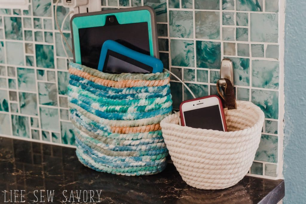 DIY rope basket for charging station sewing craft tutorial