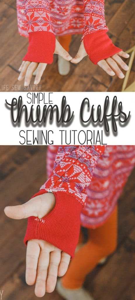 thumb hole cuff sewing tutorial and simple sewing. Add a thumb hole cuff to any shirt from LIfe Sew Savory