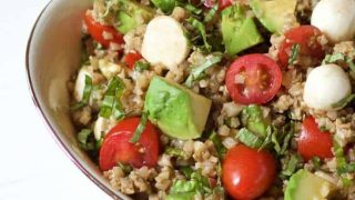 Cauliflower Rice Caprese Avocado Salad