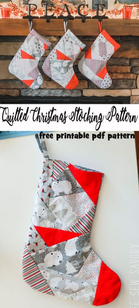 Quilted Christmas Stocking Pattern free pdf tutorial and stocking pattern from Life Sew Savory