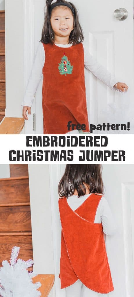 embroidered Christmas jumper tutorial with free pinafore pattern for girls free sewing pattern and tutorial from Life Sew Savory