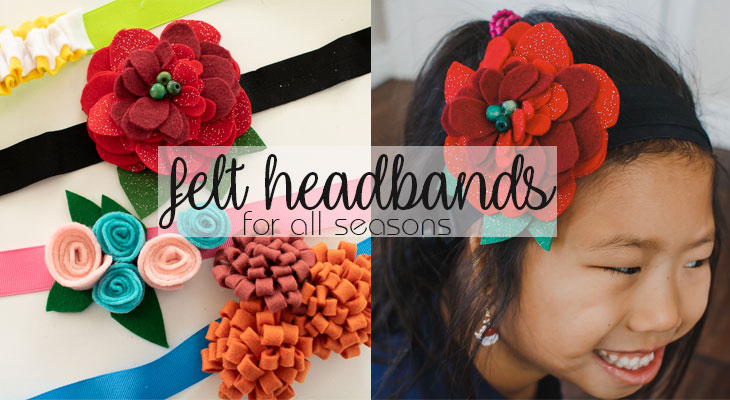 Felt Flower Headband tutorial flower hair clips from Life Sew Savory