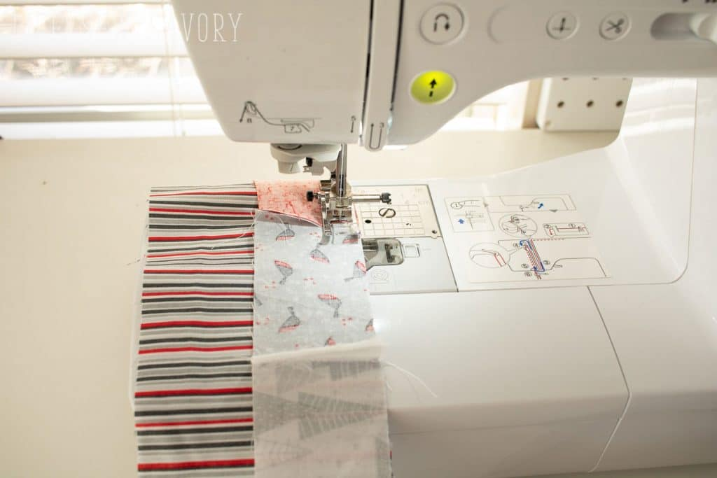 sew strips of fabric together