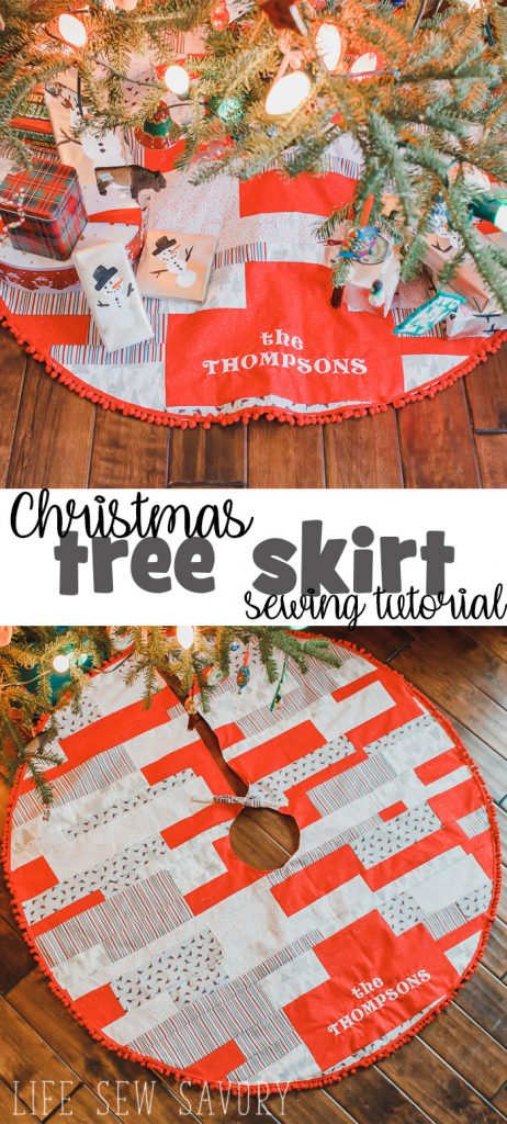 How to Make a Christmas Tree Skirt with quilted fabric sewing tutorial from Life Sew Savory