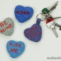 Conversation heart keychains