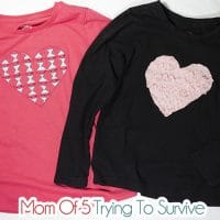 Reverse applique heart shirt
