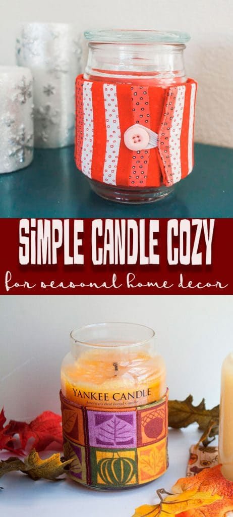 Seasonal candle cozy simple sewing tutorial to make any candle a home decor piece from Life Sew Savory