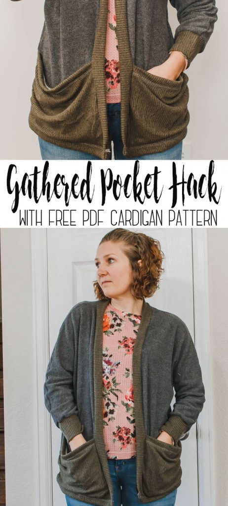 Cardigan with pockets - oversized pocket sewing hack for the free sewing pattern Womens Cardigan from Life Sew Savory