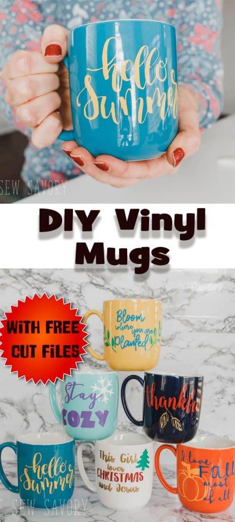 DIY vinyl mugs free svg cut files for seasonal mugs from Life Sew Savory