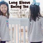 long sleeve girls swing tee free sewing pattern