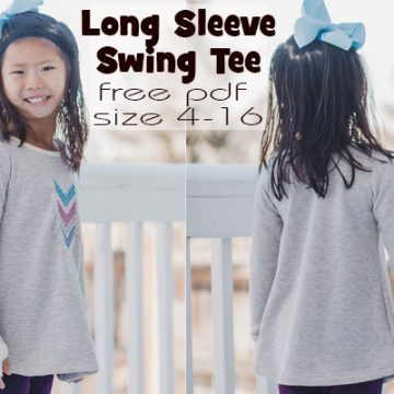 long sleeve girls swing tee free sewing pattern