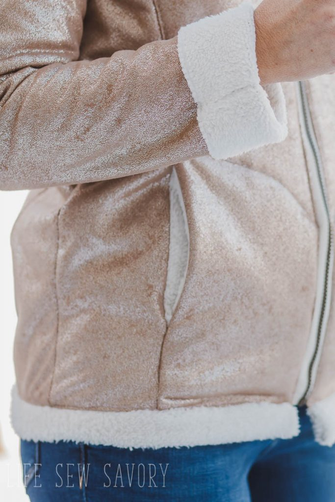 sherpa suede jacket sewing pattern details