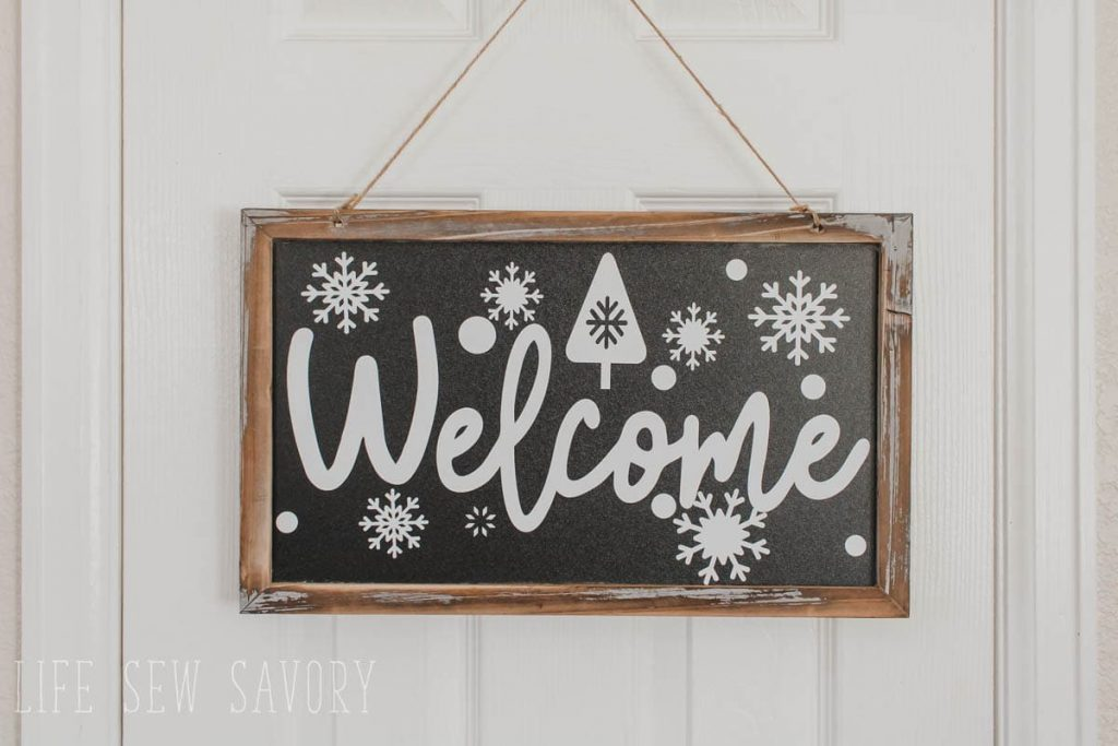 free svg file for winter welcome sign