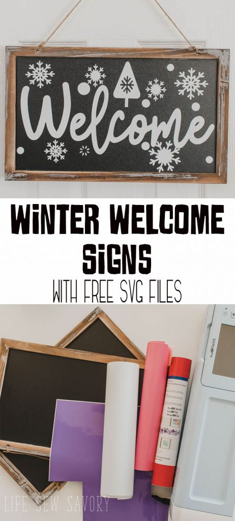 Scan N Cut vinyl projects make a winter welcome sign with photo and video tutorial and free svg files from Life Sew Savory