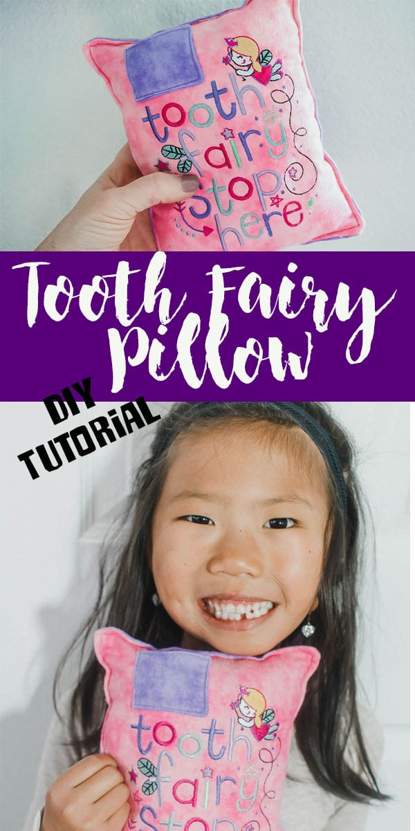 tooth fairy pillow pattern DIY with embroidered pillow for tooth fairy from Life Sew Savory Sew a tooth pillow to collect money from the tooth fairy.