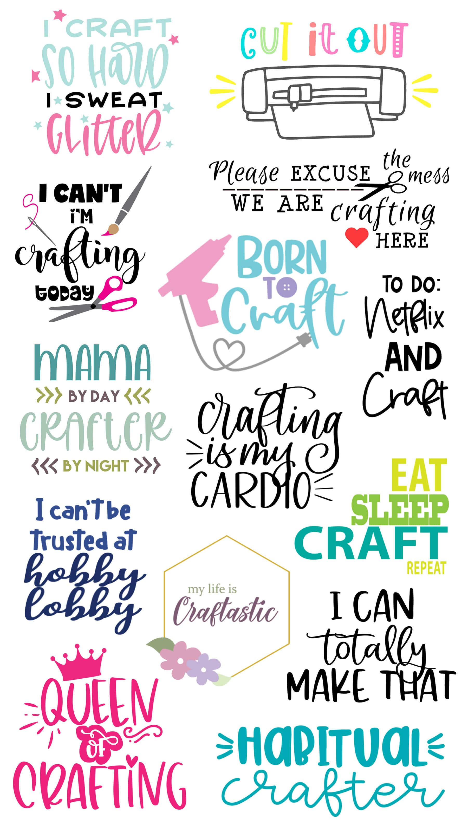 Check out this huge list of free craft svg files for making crafty themed shirts, totes and pretty much anything. Makes a great gift for the crafter in your life. Free crafting svg files have many uses.