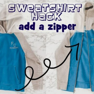 sweatshirt hack add a zipper sewing tutorial