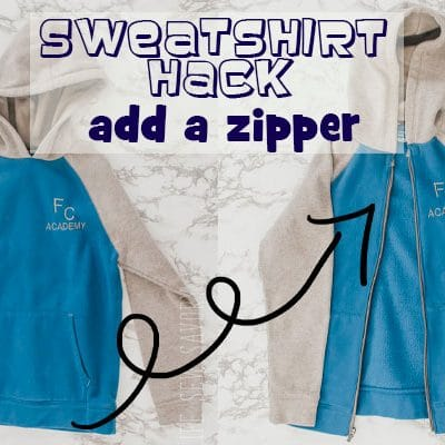 Add a zipper to a sweatshirt