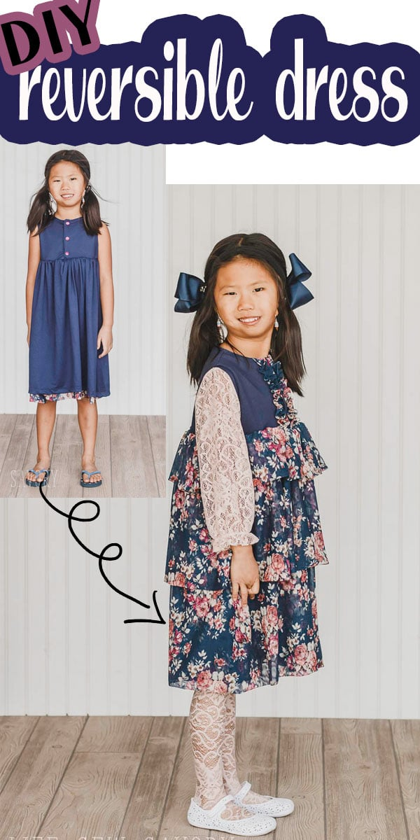 Turn a dress into a beautiful reversible dress with two wearable sides each with a different look. Get more wear from your girls dresses with a dress that transforms into TWO dresses with a simple flip. Reversible dress from a free sewing pattern via @lifesewsavory