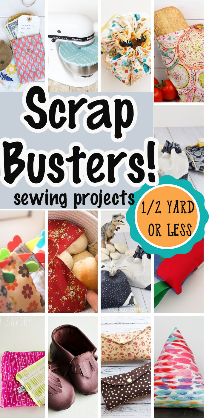A HUGE list of sewing projects that use a 1/2 yard of fabric of less. Sew some easy scrap busters to use up your stash and organize you home with this fabulous scrap busting sewing tutorials.