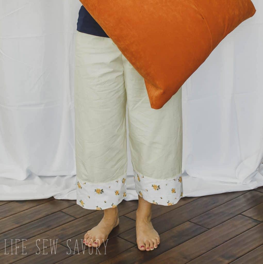 vintage sheet sewn into pj pants