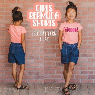 Girls Bermuda shorts free sewing pattern