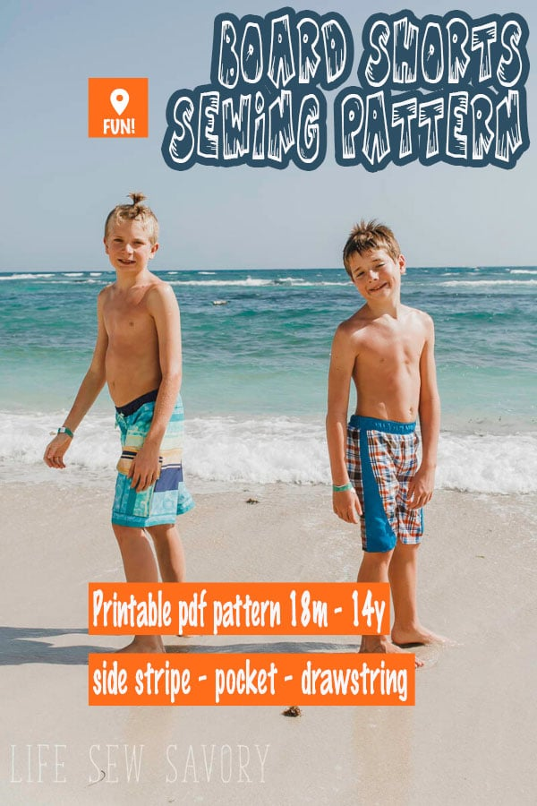 sewing pattern for boys board shorts sizes 18m-14y